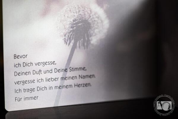 Trauerkarte - Bevor ich Dich vergesse
